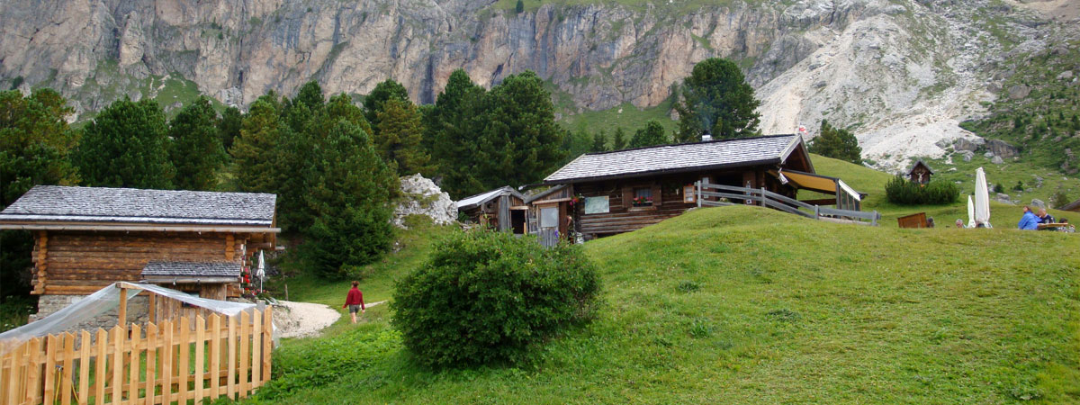 Hiking on the Seiser Alm, hut